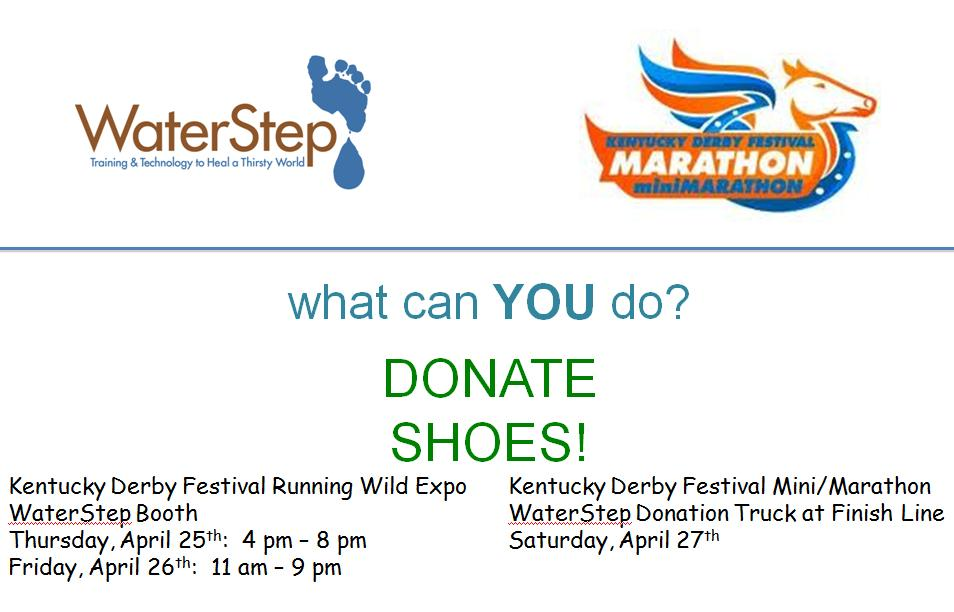 Donate Shoes at the Mini Marathon Expo or at the Finish Line .