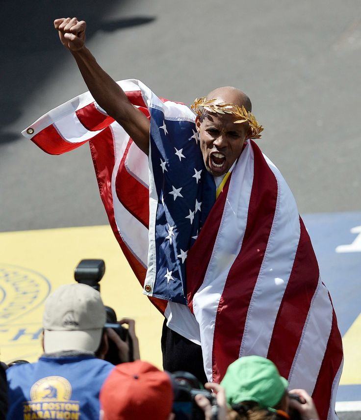 Meb Keflezighi of the United States reacts after coming in first place in the 118th running of the Boston Marathon. (PHOTO/NBC News)